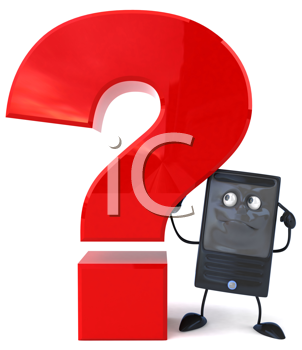Royalty Free Clipart Image of a Cellphone With a Question Mark