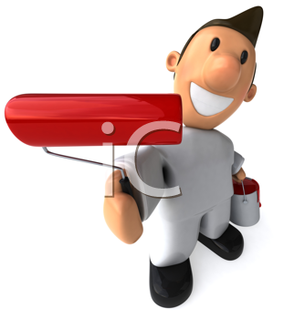 Royalty Free Clipart Image of a House Painter With a Roller With Red Paint