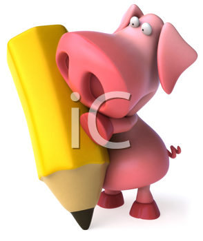 Royalty Free Clipart Image of a Pig With a Pencil