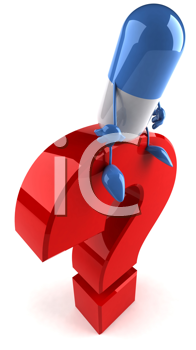 Royalty Free Clipart Image of a Pill on a Question Mark