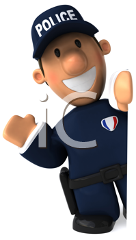 Royalty Free Clipart Image of a Waving Policeman