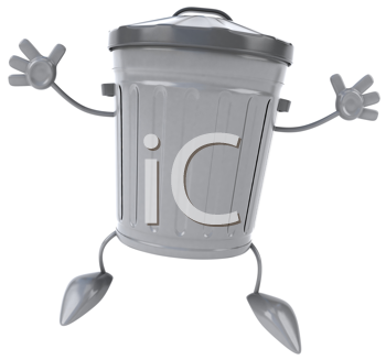 Royalty Free Clipart Image of a Jumping Garbage Can