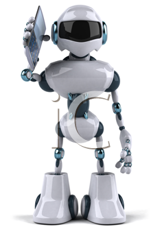 Royalty Free Clipart Image of a Robot With a Cell Phone