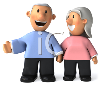 Royalty Free Clipart Image of a Middle-Aged Couple Holding Hands