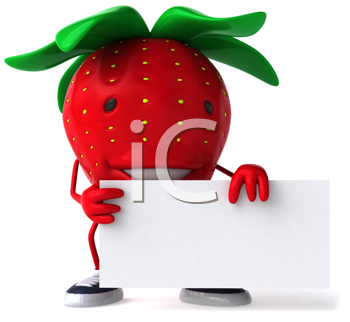 Royalty Free Clipart Image of a Strawberry With a Piece of Paper
