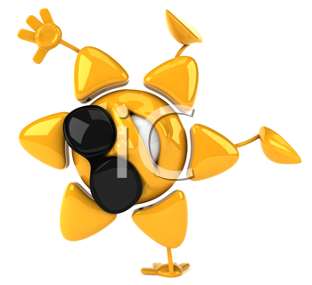 Royalty Free Clipart Image of a Sunshine Doing a Handstand