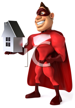 Royalty Free Clipart Image of a Superhero Holding a House
