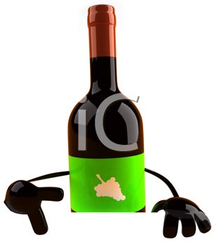 Royalty Free Clipart Image of a Wine Bottle