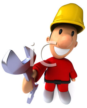 Royalty Free Clipart Image of a Man Dressed in Red Wearing a Hard Hat and Offering a Wrench