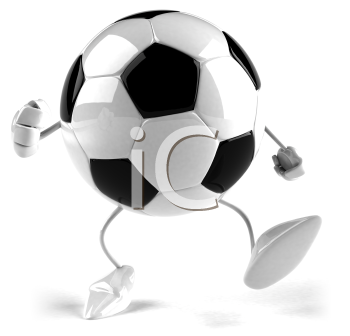 Royalty Free 3d Clipart Image of a Soccer Ball Character Running