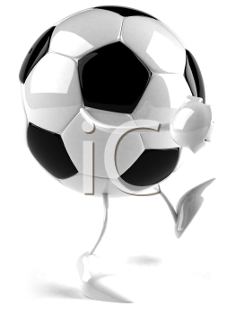 Royalty Free 3d Clipart Image of a Soccer Ball Character Walking