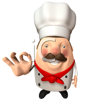 Royalty Free 3d Clipart Image of a Chef Giving the Okay Sign