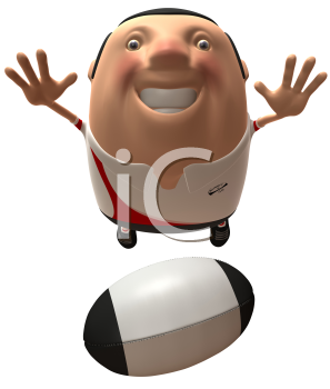 Royalty Free 3d Clipart Image of Rugby Player