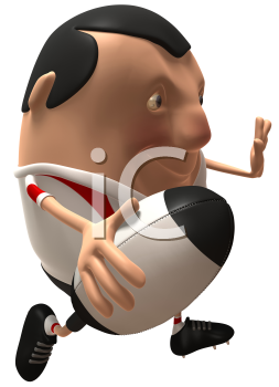 Royalty Free 3d Clipart Image of Rugby Player Running With a Ball