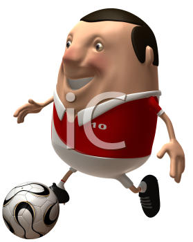 Royalty Free 3d Clipart Image of Soccer Player Dribbling