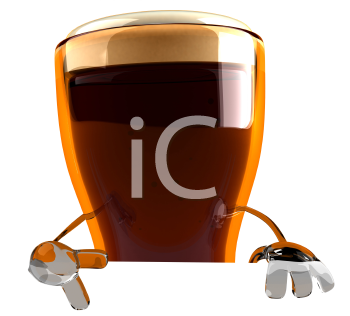 Royalty Free 3d Clipart Image of a Beer Glass Character Holding a Sign