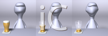 Royalty Free 3d Clipart Image of a Character Drinking a Beverage
