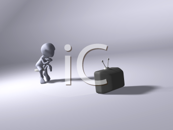 Royalty Free 3d Clipart Image of a Character Sitting on a Stool Watching TV