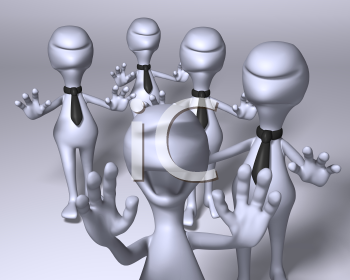 Royalty Free 3d Clipart Image of Zombie Characters Following Another Character