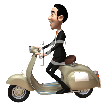 Royalty Free 3d Clipart Image of an Asian Businessman Riding a Scooter