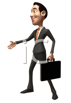 Royalty Free 3d Clipart Image of an Asian Businessman Holding a Briefcase Inviting Someone to Shake Hands