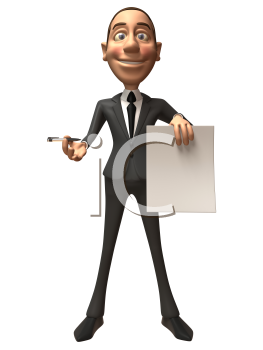 Royalty Free 3d Clipart Image of a Businessman Holding a Paper Document and Pen
