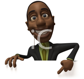 Royalty Free 3d Clipart Image of an African American Businessman Pointing at a Sign Board
