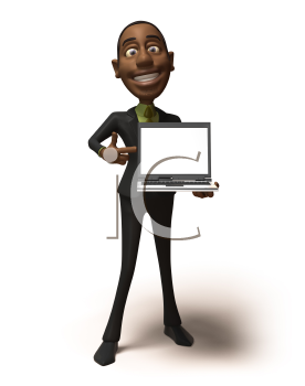 Royalty Free 3d Clipart Image of an African American Businessman Holding and Pointing to a Laptop Computer