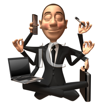 Royalty Free 3d Clipart Image of a Businessman Multitasking