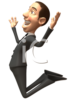 Royalty Free 3d Clipart Image of a Businessman Jumping in the Air