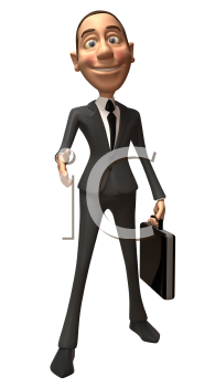 Royalty Free 3d Clipart Image of a Businessman Holding a Briefcase Inviting Viewer to Shake Hands