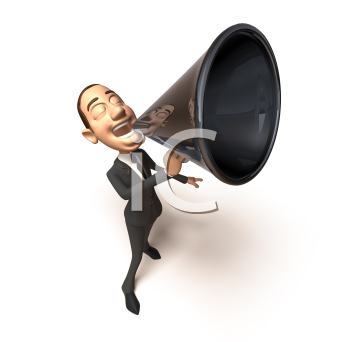 Royalty Free 3d Clipart Image of a Businessman Speaking into a Megaphone