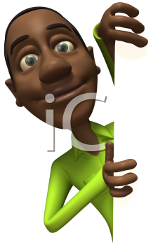 Royalty Free 3d Clipart Image of an African American Businessman Holding a Sign Board