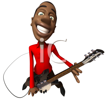 Royalty Free 3d Clipart Image of an African American Man Wearing a Suit and Playing a Guitar