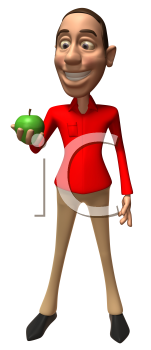 Royalty Free 3d Clipart Image of a Man Looking at a Green Apple