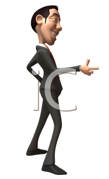 Royalty Free 3d Clipart Image of an Asian Businessman Pointing