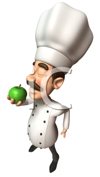 Royalty Free 3d Clipart Image of a Chef Eating a Green Apple