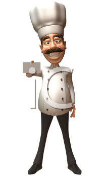 Royalty Free 3d Clipart Image of a Chef Holding a Business Card