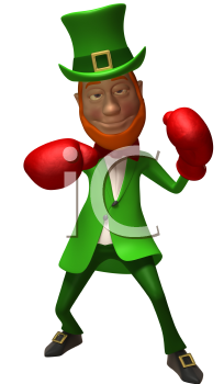 Royalty Free 3d Clipart Image of a Leprechaun Wearing Red Boxing Gloves