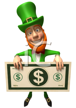Royalty Free 3d Clipart Image of an Leprechaun Holding a Large Dollar Bill