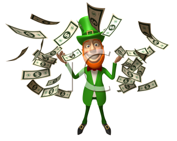 Royalty Free 3d Clipart Image of an Leprechaun with Floating Dollar Bills