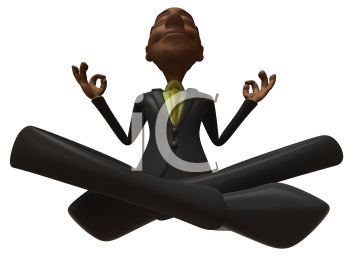 Royalty Free 3d Clipart Image of an African American Businessman Meditating