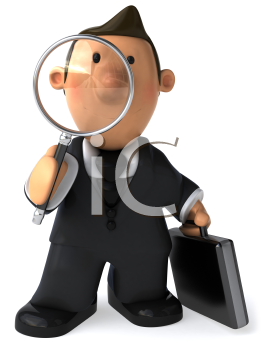 Royalty Free Clipart Image of a Man With a Briefcase and a Magnifying Glass