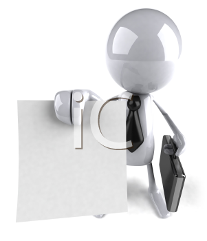 Royalty Free 3d Clipart Image of a Guy Holding a Paper Document and a Briefcase