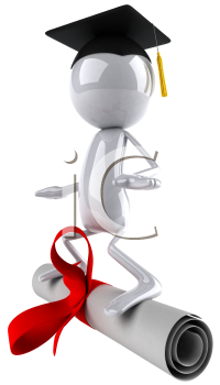 Royalty Free Clipart Image of a Graduate Image Standing on The Diploma