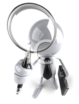 Royalty Free 3d Clipart Image of a White Guy Holding a Briefcase and Magnifying Glass