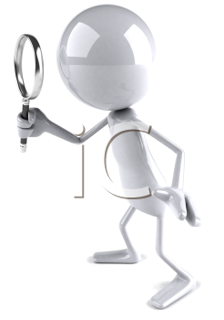 Royalty Free 3d Clipart Image of a White Guy Holding a Magnifying Glass