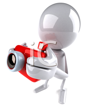 Royalty Free 3d Clipart Image of a White Guy Holding a Camera