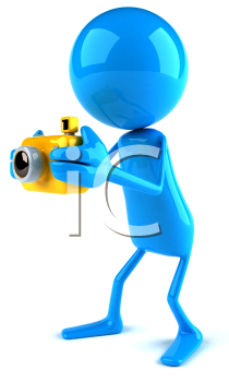 Royalty Free 3d Clipart Image of a Blue Guy Holding a Camera