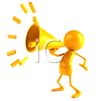 Royalty Free 3d Clipart Image of a Yellow Character Speaking into a Megaphone